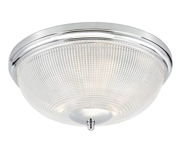 Dar Arbor Chrome 3 Light Flush Bathroom Ceiling Light Prismatic Glass