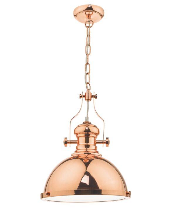 Dar Arona Retro Industrial Style Single Pendant Light Polished Copper