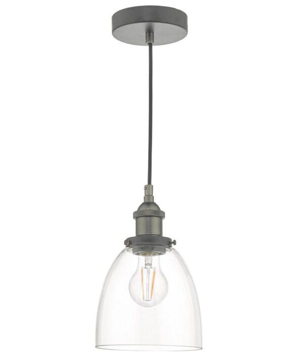 Dar Arvin Industrial 1 Light Single Ceiling Pendant Antique Chrome Glass