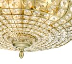 Dar Asmara 5 Lamp Flush Mount Crystal Low Ceiling Light Antique Brass