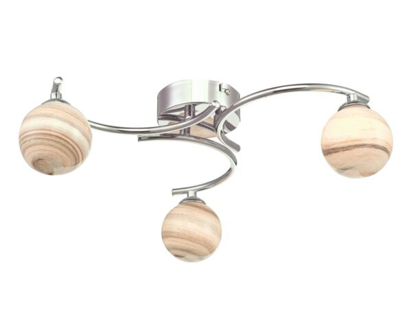 Dar Atiya 3 Arm Flush Low Ceiling Light Chrome Planet Art Glass Globes