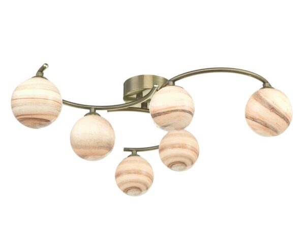 Dar Atiya 6 Lamp Flush Low Ceiling Light Antique Brass Planet Art Glass