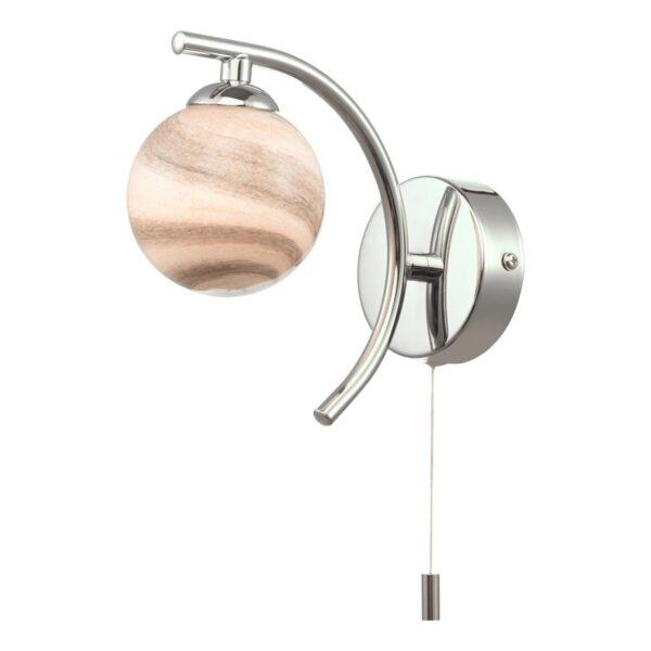 Dar Atiya Switched Single Wall Light Chrome Planet Art Glass Globe