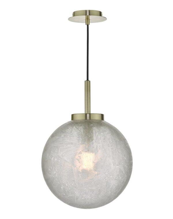Dar Avari 1 Lamp Pendant Ceiling Light Satin Brass Frosted Glass Globe
