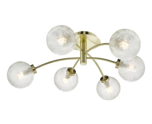 Dar Avari 6 Light Semi Flush Low Ceiling Light Satin Brass Frosted Glass
