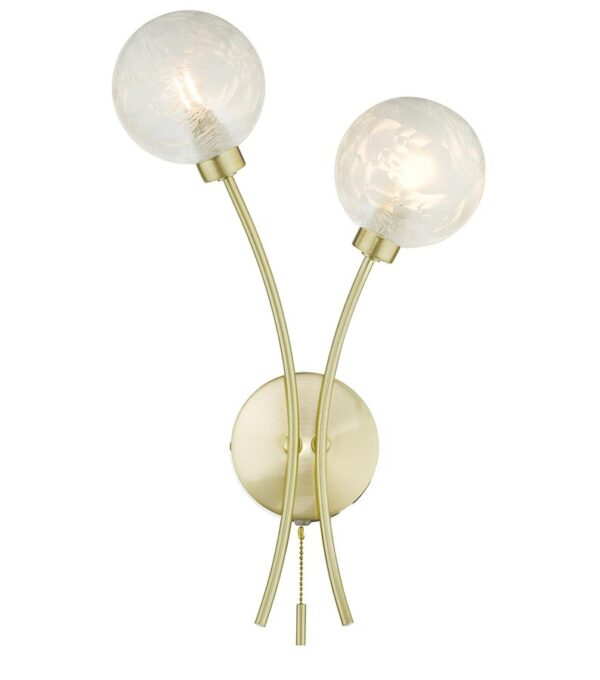 Dar Avari Switched Twin Wall Light Satin Brass Frosted Glass Globes