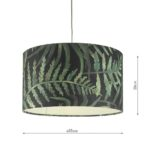 Dar Bamboo Small Easy Fit Drum Ceiling Lamp Shade Green Leaf Print
