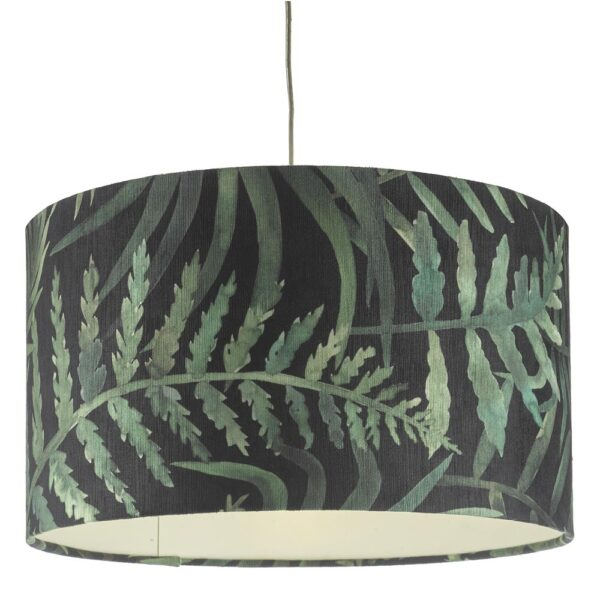 Dar Bamboo large easy fit drum ceiling lamp shade green leaf print main image