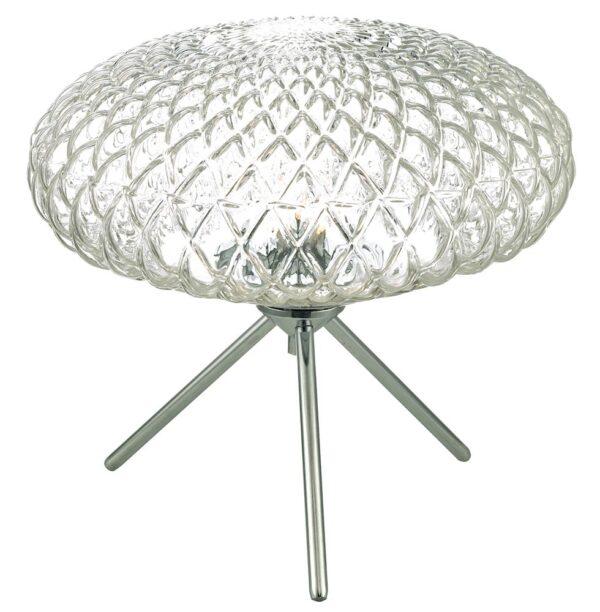 Dar Bibiana Large 1 Light Tripod Table Lamp Chrome Textured Clear Glass