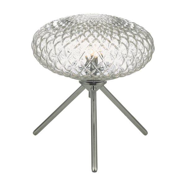 Dar Bibiana Small 1 Light Tripod Table Lamp Chrome Textured Clear Glass