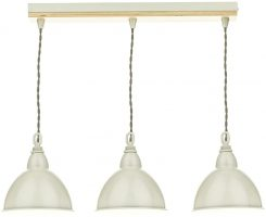 Dar Blyton 3 Light Ceiling Pendant Bar Cream Painted Shades