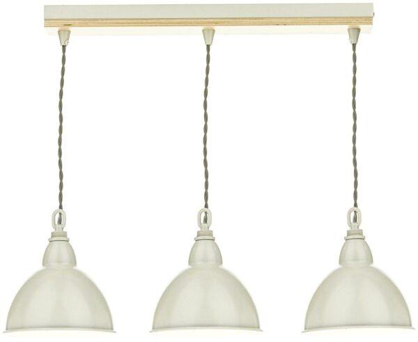 Dar Blyton 3 Light Ceiling Pendant Bar Cream Painted Shades