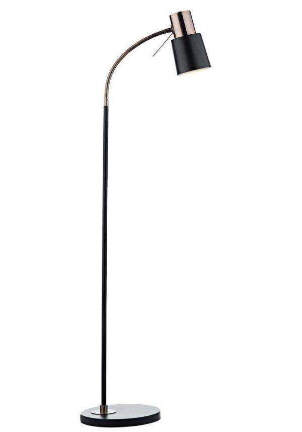 Dar Bond Flexible 1 Light Floor Reading Lamp Matt Black Copper Detail