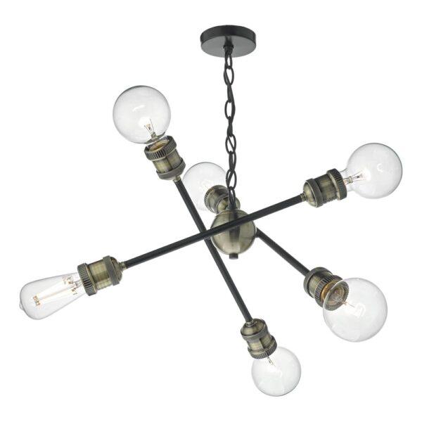 Dar Brigade Industrial 6 Lamp Pendant Ceiling Light Black & Antique Brass