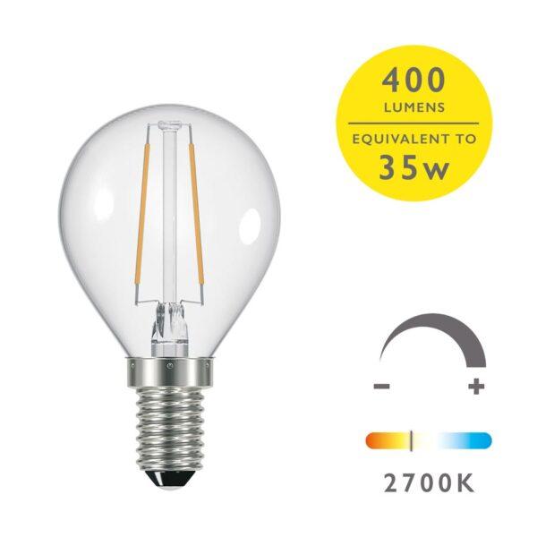 5 Pack Dimming 4w LED Golf Ball Bulb Warm White 400 Lumen E14