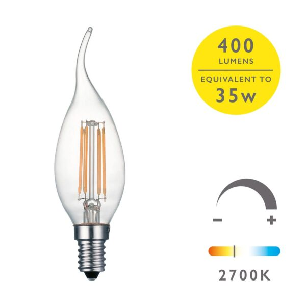 5 Pack Dimming 4w LED Bent Tip Candle Bulb Warm White 400 Lm E14