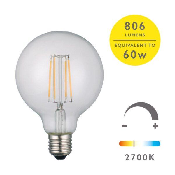 Pack Of 5 Dimmable 6w LED 95mm Globe Bulb 2700k 806 Lumen E27