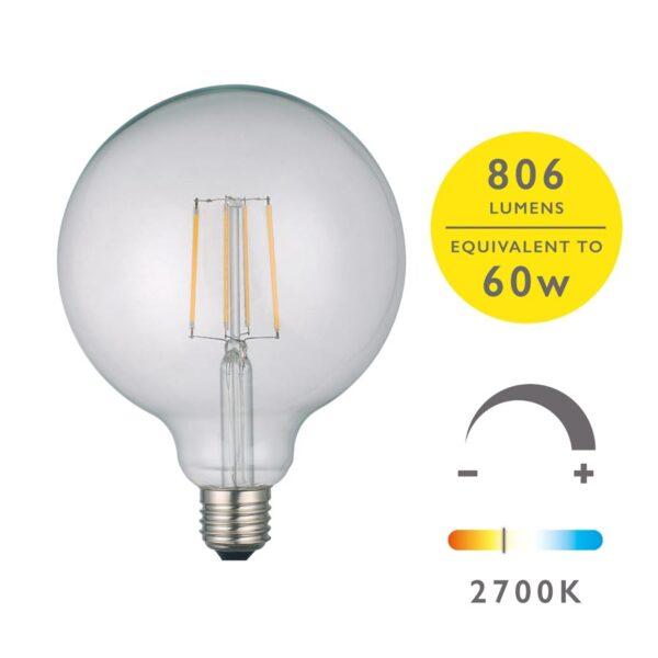 6w LED 125mm globe light bulb warm white 806 lumen for E27 main image