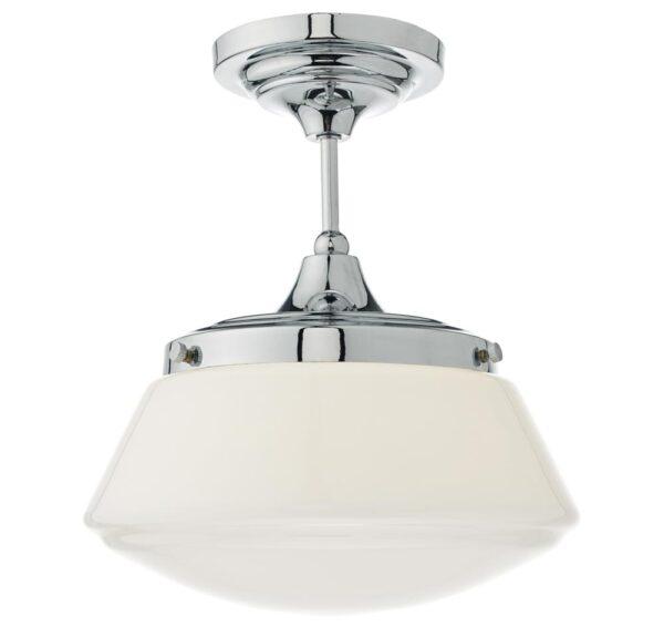 Dar Caden Semi Flush Bathroom Ceiling Light Opal White Glass Chrome