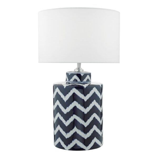 Dar Caelan Blue & White Zig Zag Ceramic Jar Table Lamp Base Only