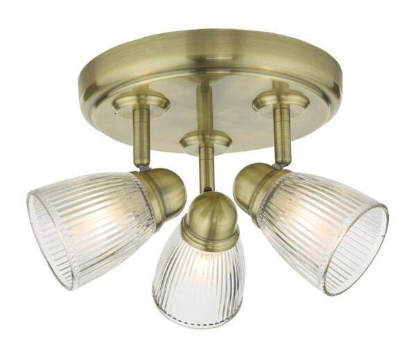 Dar Cedric Retro Bathroom Ceiling 3 Light Antique Brass Ribbed Glass