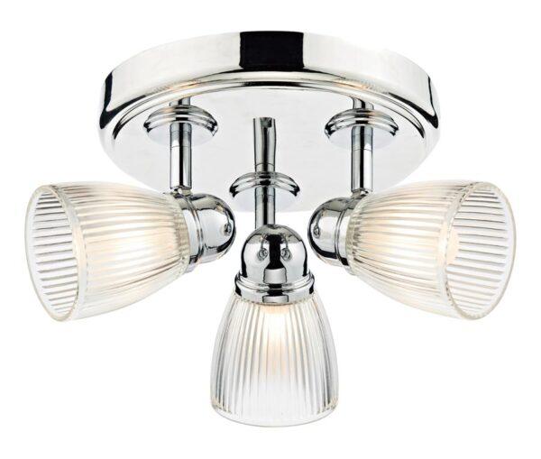 Dar Cedric Retro 3 Lamp Bathroom Ceiling Light Chrome Ribbed Glass