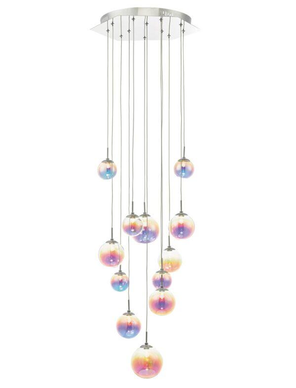 Dar Cesario 12 Light LED Cluster Pendant Chrome Iridised Glass Globes