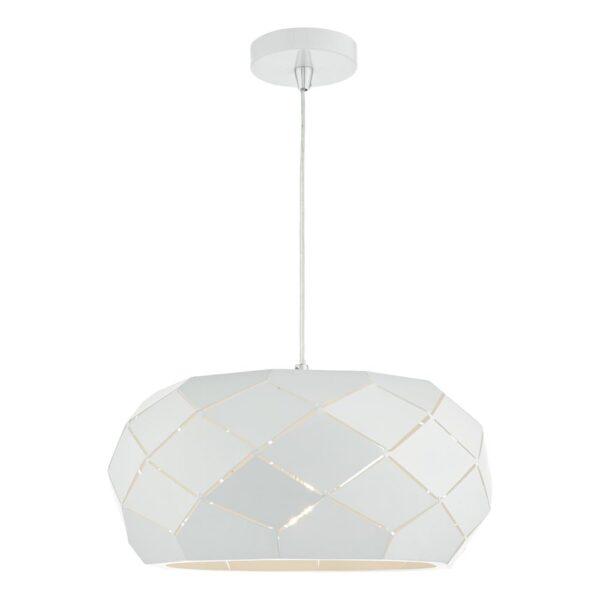 Dar Coby Modern 1 Light Geometric Ceiling Pendant Matt White Steel