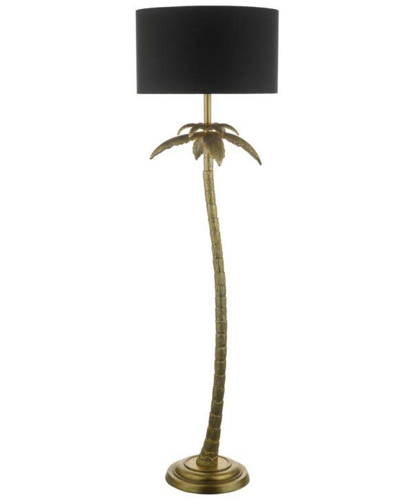 Dar Coco Palm Tree Floor Lamp Standard Antique Gold Black Shade