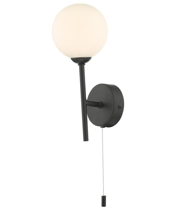 Dar Cohen Switched Single Wall Light Matt Black Opal Glass Globe