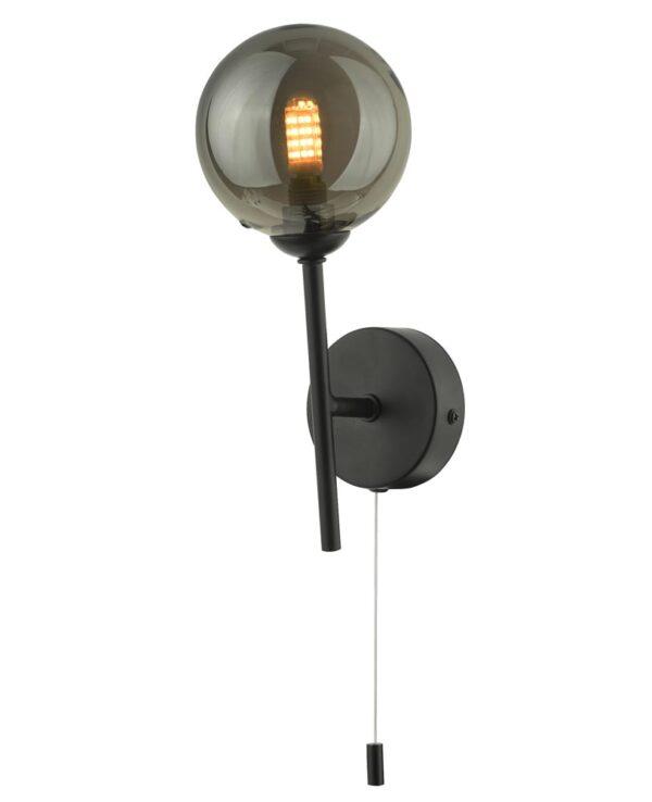 Dar Cohen Switched Single Wall Light Matt Black Smoked Glass Globe