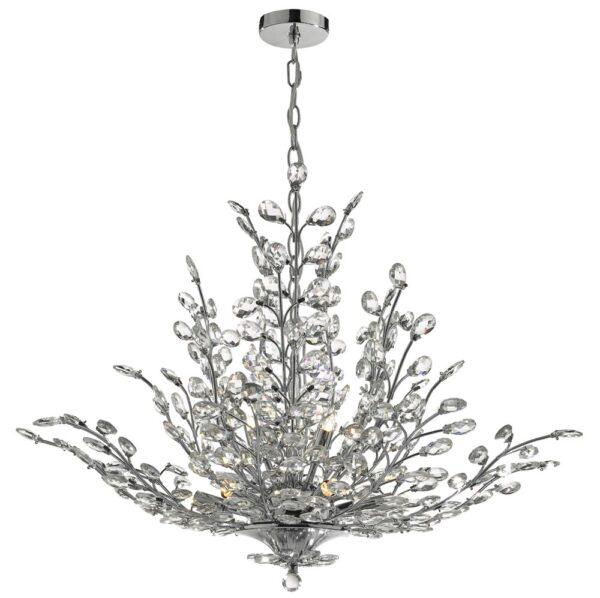Dar Cordelia Large 9 Light Chandelier Polished Chrome Crystal Buds