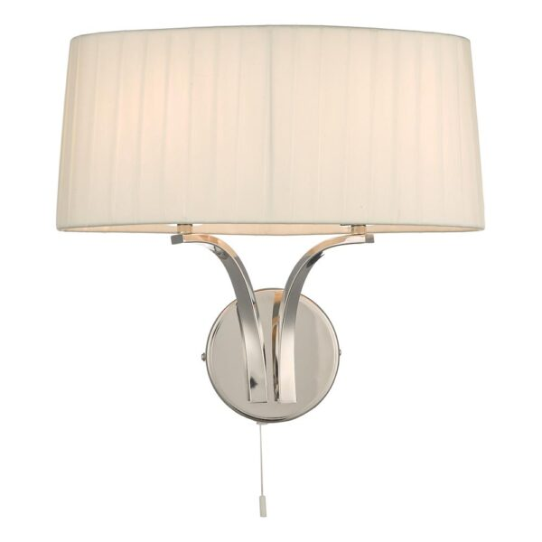 Dar Cristin Switched Twin Wall Light Ivory Ribbon Shade Polished Nickel