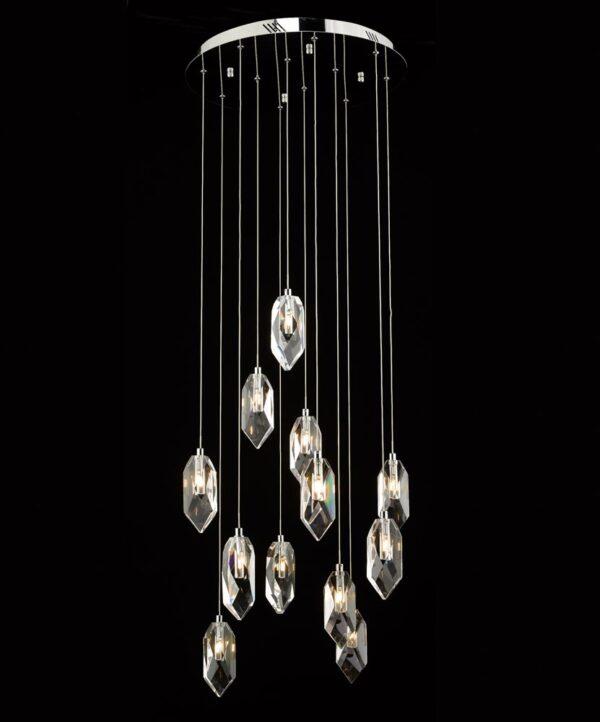Dar Crystal 12 Lamp Cluster Pendant Light Polished Chrome Rock Crystal