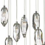 Dar Crystal 18 Lamp Cluster Pendant Light Polished Chrome Rock Crystal