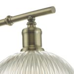 Dar Dara Switched Industrial Single Wall Light Antique Brass Ribbed Glass
