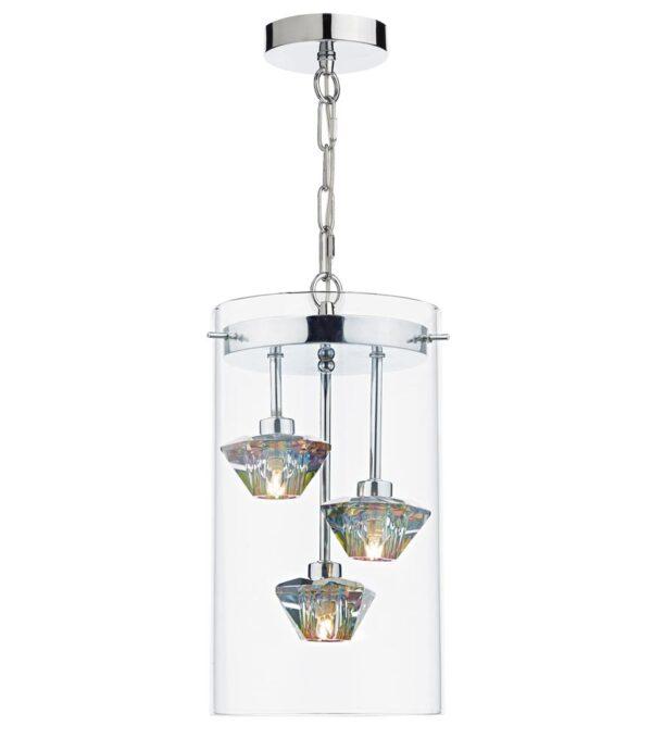 Dar Decade Modern 3 Light Ceiling Pendant Chrome Dichroic Glass