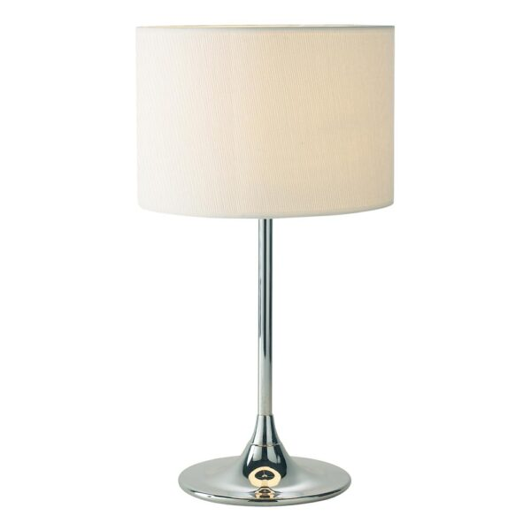 Dar Delta Small Polished Chrome Table Lamp With Ivory Shade