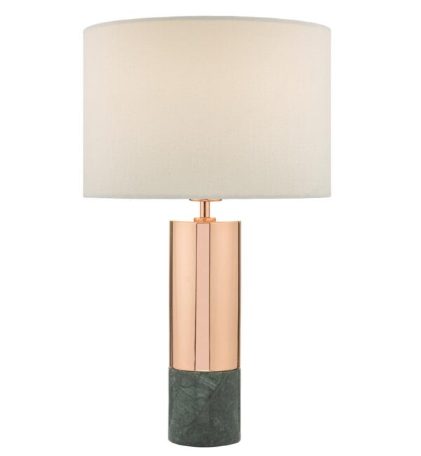 Dar Digby Green Marble & Polished Copper Table Lamp White Shade
