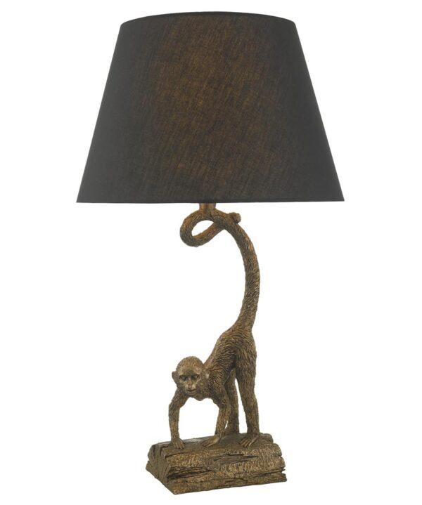 Dar Dwayne Monkey Sculpture Table Lamp Bronze Finish Black Shade