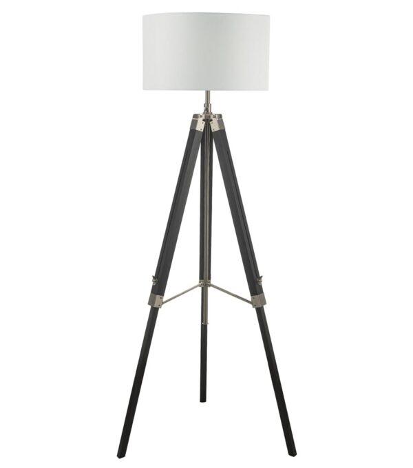 Dar Easel Black Wood Tripod Floor Lamp Base Satin Nickel Detail