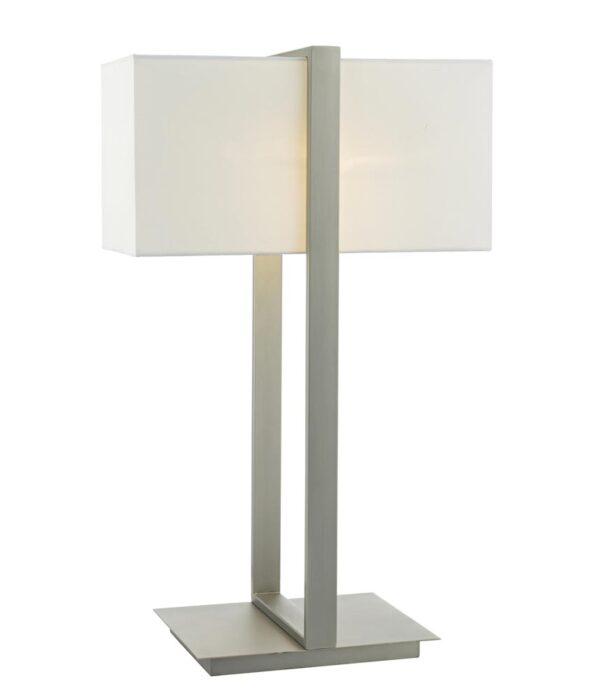 Dar Eduardo Modern Bedside Table Lamp Antique Nickel Ivory Shade
