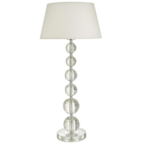 Dar Epona 1 Light Faceted Acrylic Spheres Table Lamp White Shade