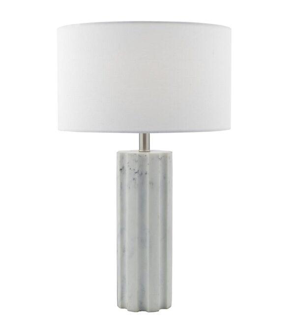 Dar Erebus White Marble Effect Resin Table Lamp White Linen Shade