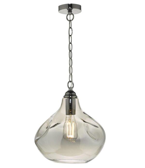 Dar Esarosa Modern 1 Light Ceiling Pendant Black Chrome Smoked Glass