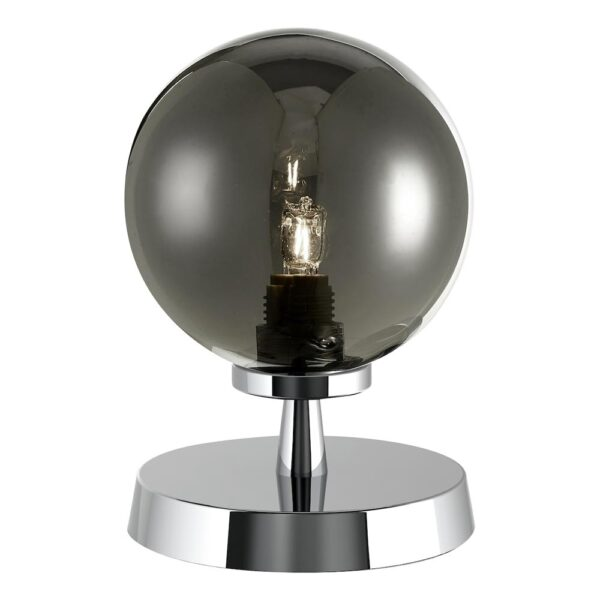 Dar Esben Touch On / Off Table Lamp Chrome Smoked Glass Globe
