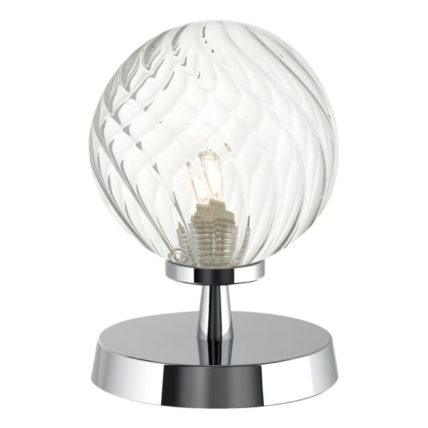Dar Esben Touch On / Off Table Lamp Chrome Twisted Clear Glass Globe