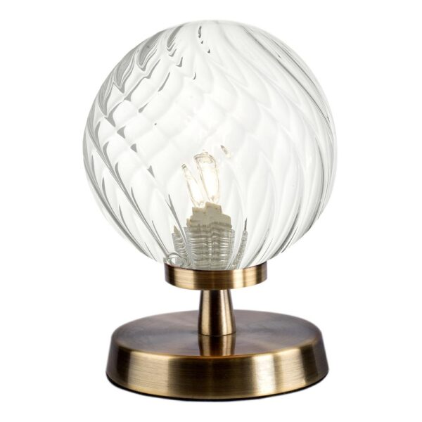 Dar Esben Touch On / Off Table Lamp Antique Brass Twisted Clear Glass