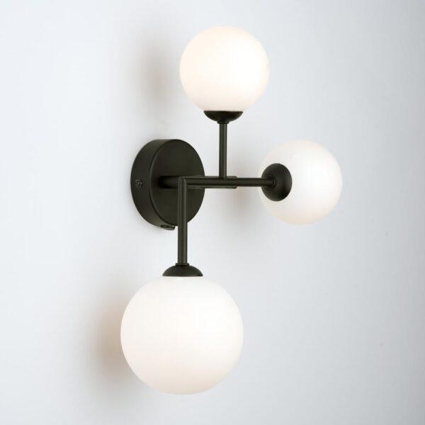 Dar Euan 3 Lamp Switched Wall Light Matt Black Opal Glass Globes
