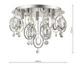 Dar Evangeline Glass & Crystal 5 Lamp Flush Low Ceiling Light Chrome